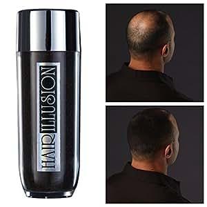HAIR ILLUSION - 100% Real Human Hair Fibers - Not Synthetic - For Men & Women, Premium Hair Building Formulation, Black 38g