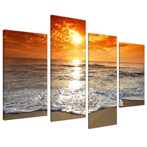 Large Sunset Beach Landscape Canvas Wall Art Pictures in Orange and Brown - XL - Multi Panel Prints - Modern Split Set of 4 Canvases - 130cm Wide