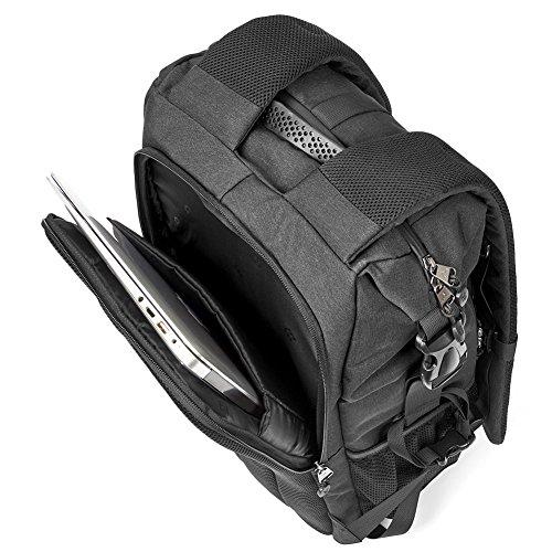 51lDx0avkvL - Camera Bag, Evecase Shell DSLR Camera/15.6-inch Laptop Double Buckle Water Resistant Backpack Travel Rucksack w/Rain Cover for Nikon Canon Fujifilm Sony Digital SLR, Mirrorless Camera - Black