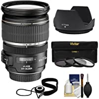 Canon EF-S 17-55mm f/2.8 IS USM Zoom Lens with 3 UV/CPL/ND8 Filters + Hood Kit for EOS 7D, 77D, 80D, Rebel T6, T6i, T6s, T7i, SL1 SL2 DSLR Cameras