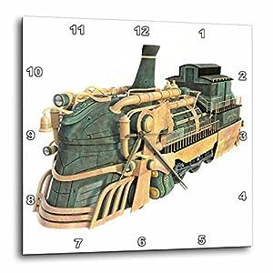 3dRose Boehm Graphics Steampunk – A Green Patina and Copper Steampunk Train Engine – Wall Clocks