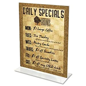 deflect-o Classic Image Stand-Up Two-Sided Desktop Sign Holder, Plastic, 5 x 7 Inches (69101)