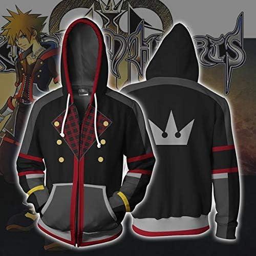 Kingdom Hearts Sora Hoodies Cosplay Männer und Frauen Kostüm 3D gedruckt Reißverschluss Sweatshirts Cartoon Kapuzenpullover Jacken XL Wieabgebildet