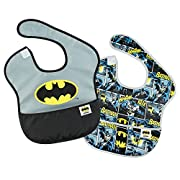 Bumkins Baby Bib, DC Comics Waterproof SuperBib 2 Pack, Batman (Logo/Icon) (6-24 Months)