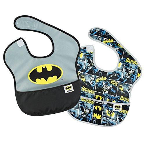 Batman Infant Bib - Bumkins Baby Bib, DC Comics Waterproof SuperBib 2 Pack, Batman (Logo/Icon) (6-24 Months)