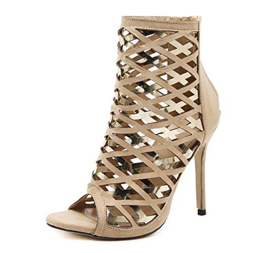 boca zapatos con apricot zapatos expuesto primavera pescado de verano Mujer de alto fino de ZHZNVX romano tacón 1x6PnaPH
