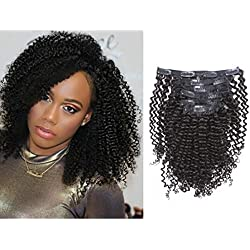 Loxxy Kinky Curly Clip in Human Hair Extensions 3B 3C Kinky Clip ins For Black Women Nutural Color 8A Double Wefts Real Remy Balayage Hair Extension,120G,16 Inch