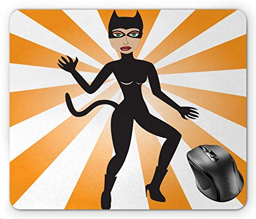 BGLKCS Retro Cat Woman Halloween Costume on Starburst Background, Pale Orange Ecru Laurel Green Charcoal Grey Mouse Pad 8.6 X 7.1 -