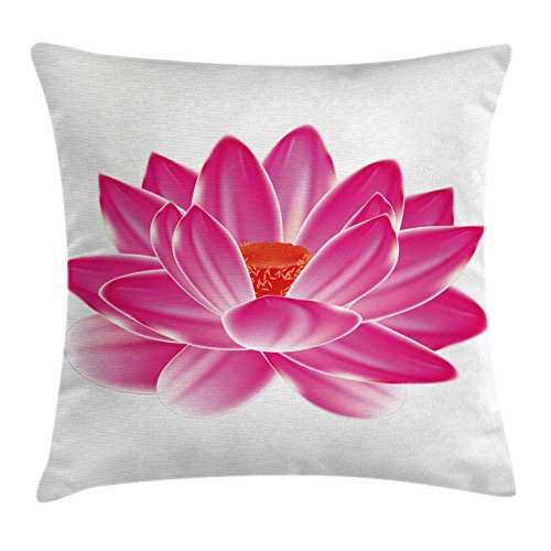 Ambesonne Lotus Throw Pillow Cushion Cover by, Vibrant Lotus Flower Pattern Spa Zen Yoga Asian Balance Energy Lifestyle Artsy Image, Decorative Square Accent Pillow Case, 18 X 18 Inches, Magenta Red by Ambesonne