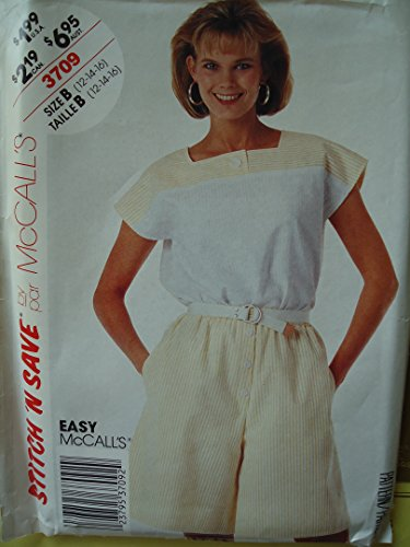 (Mccalls 3709 Sewing Pattern for Easy Square Neck Contrast Button Yoke Cap Sleeve Top, Mock-button Side Pocket Pull on Shorts 12 14 16)