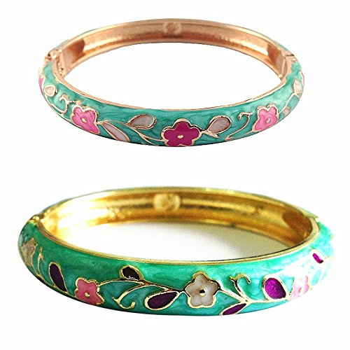- UJOY Cloisonne Bangle Bracelet Flower Enamel Hinged Metal Cuff Bracelets Sets Jewelry Box Gift for Women 55B38 Green