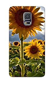 Galaxy S5 Case Cover - Slim Fit Tpu Protector Shock Absorbent Case (sunflower Field )
