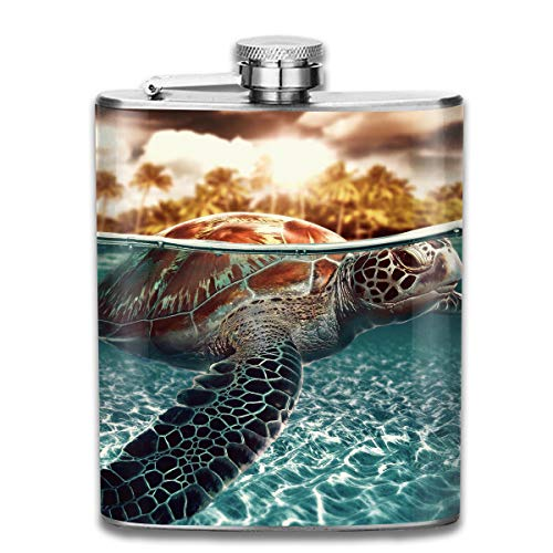 (Laki-co Sea Turtle and Big Fish Hip Flask for Liquor Stainless Steel Bottle Alcohol)