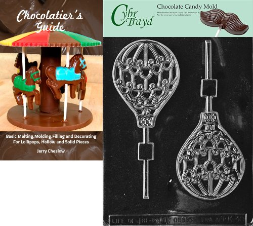 Cybrtrayd Hot Air Balloon Lolly Kids Chocolate Candy Mold with Chocolatier's Guide Instructions Book Manual