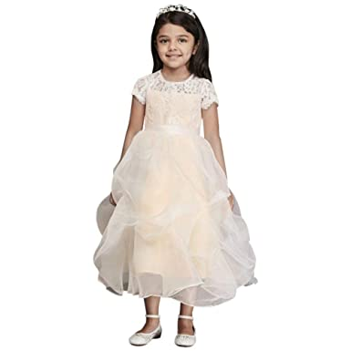 111b5242bfd Amazon.com  David s Bridal Lace and Organza Pick-Up Flower Girl ...