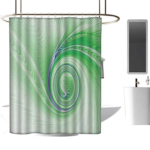 Extra Long Shower curtain72 x78 Spires,A Curve Winds Around Fixed Motif Continuously Increasing Spirals Computer Figure Print Green,Washable Odorless Eco-Friendly,for ()