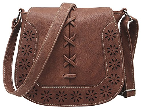 PU Brown Sanddle Hollow Crossbody Women's with Travel Red Bag Shoulder Purse Lacing Hobo fW7dwqxzd