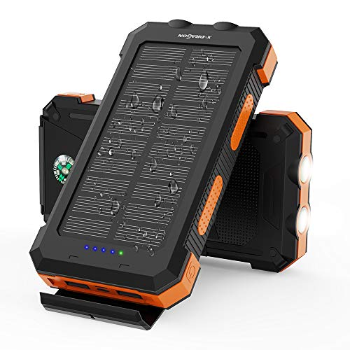 Solar Power Bank X-DRAGON 24000mAh Waterproof Portable Solar Charger with Dual Inputs(USB-C & Micro), Dual Flashlights, Compass for iPhone, iPad, Samsung, Cell Phones, Outdoors, Camping