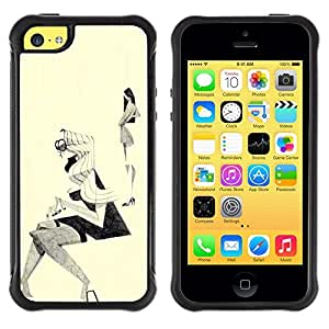 LASTONE PHONE CASE / Suave Silicona Caso Carcasa de Caucho Funda para Apple Iphone 5C / Fashion Sketch Outfit Design Black White