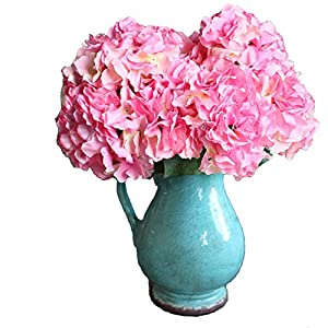 Duosuny Artificial Silk Fake 5 Heads Flower Bunch Bouquet Home Hotel Wedding Party Garden Floral Decor Hydrangea (Rose red) 12