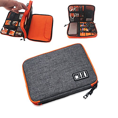 Large Cable Organiser Travel Waterproof Nylon Electronics Accessories Organiser Bag Zipper Double layer Cable Storage Case For USB Cables Earphones Chargers SD Cards (Passport Usb 20 Hard Drive)