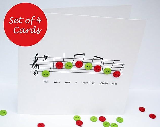 Christmas card set pack of 4 cards christmas music button notes christmas card set pack of 4 cards christmas music button notes joy to m4hsunfo