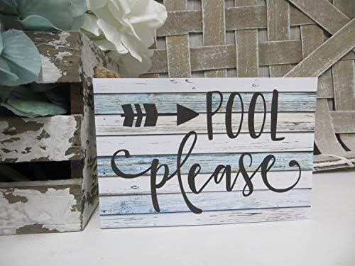 unknow Holzschild, Pool Please, Pool-Dekoration, Pool-Liebhaber, Geschenk, Sommer-Tablett
