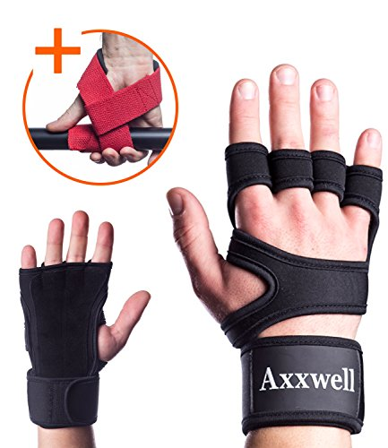 Cross Training and Workout Gloves for Men & Women | Weight Lifting Gloves with Leather Padding & Wrist Support Wraps | Best for Pull ups, WOD, Strong Grip & Power (Power Wrist Wrap Performance Gloves)
