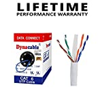 DynaCable Ethernet Bare Copper Cat6 LAN Cable, 1000ft 23AWG 550MHz UTP Solid, cm in Wall Rated, UL Listed, Up to 10 GB… 5 INDUSTRY PREFERRED HIGH PERFORMANCE CAT6 23 AWG, In-Wall CM-Rated Ethernet Bulk Cable is an ideal choice for wiring your home, office, school or any project for a high-speed network. Complies with big industry standards! UL Listed (E467035), Rohs, TIA and BICSI NEW SMART PACKAGING - Box is enclosed on the front and not the side like other boxes in the market, this means less kinks and it won't split open! VERSATILE USE - Compatible with 10/100 Base-T networks and feature enhanced 550 MHz bandwidth for distributing data, voice, and video at high-speeds. A wired Cat 6 network is more reliable and secure than a wireless network for your internet connections