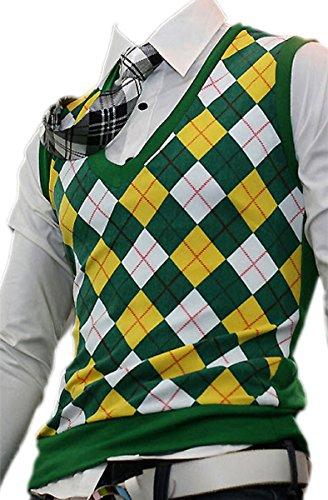 [Mens Dandy Modern V-neck Argyle Vest Sweater Knit Jumper Jacket (Green)] (Argyle V-neck Vest)