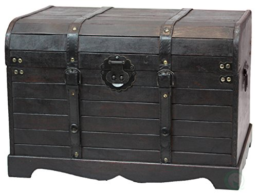 Antique Style Black Wooden Steamer Trunk, Coffee Table by Vintiquewise