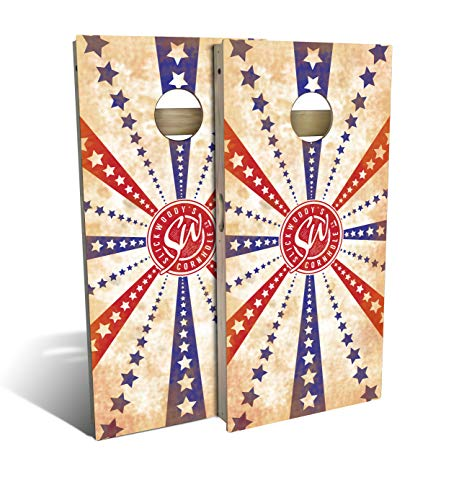 Slick Woody'S Stars and Stripes Cornhole Set with 8 Cornhole Bags, Baltic Birch Plywood Tops for The Smoothest Flattest Playing Surface, Retractable Legs and Back Bounce Brace (Best Plywood For Cornhole)
