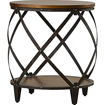 Fine Amazon Com End Table Wood Top End Table Rounded Metal Machost Co Dining Chair Design Ideas Machostcouk