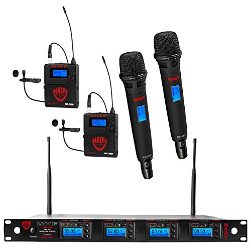Nady 4W-1KU HT-LT Quad True Diversity 1000-Channel Professional UHF Wireless System with 2 Handheld Microphones & 2 Lapel Microphones - Autoscan - Automatic Transmitter Pairing - All Metal