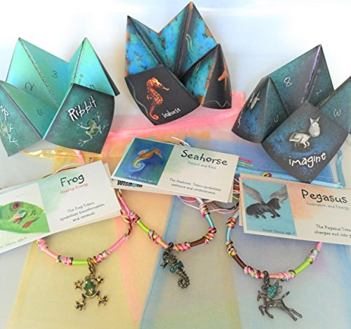 Smiling Wisdom - Totem Spirit Animal Pegasus, Seahorse, Frog Friendship Jeweled Charm Bracelets Gift Sets - Gifts for Children, Tweens, Teens - 3 Gifts - Multicolored, Aqua Blue - Children's Gifts - Fortune Teller Paper Game