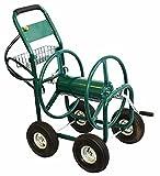 Green 300FT Solid Steel Axles Garden Water Hose Reel Cart Yard Water Planting w/ Foam Padded Handle