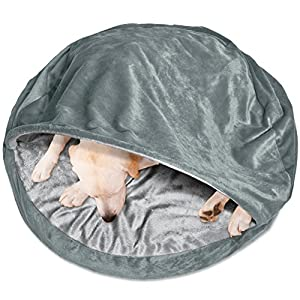 FurHaven Round Microvelvet Orthopedic Snuggery Burrow Pet Bed, Gray, 35''""