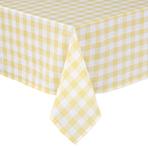 Lintex Buffalo Gingham Check Indoor/Outdoor Casual Cotton Tablecloth, Buffalo Plaid 100% Cotton Weave Kitchen, Patio and Dining Room Tablecloth 52 x 70 Oblong/Rectangular, Sunshine Yellow