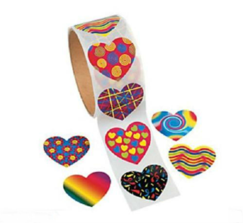 1 Roll VALENTINE'S DAY Birthday Everyday Party Favors FUNKY HEART STICKERS