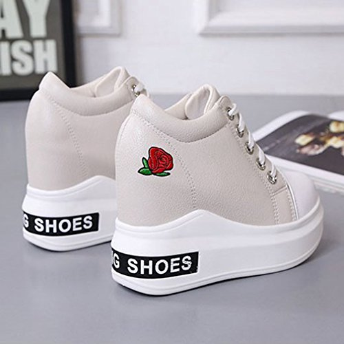 Sneakers Da Donna Con Zeppa Giy Per Donna, Tacco Alto Con Lacci E Plateau In Pelle Scamosciata