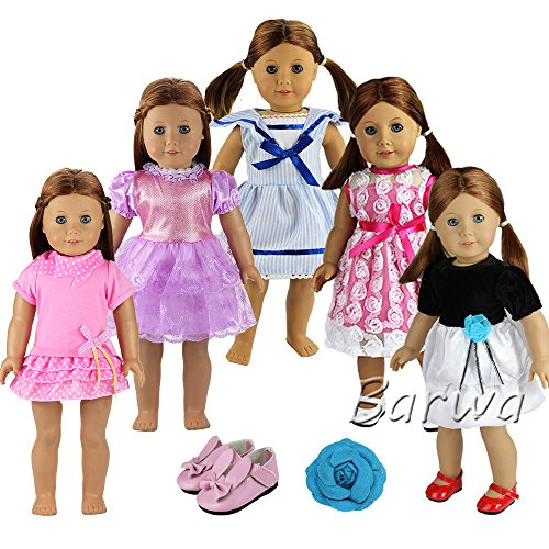 Barwa Doll Clothes 5 PCS Outdoor Casual Outfit Wear Dresses
