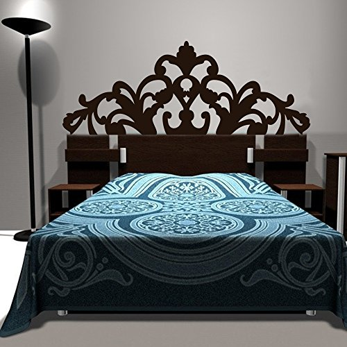 Bed Decoration Baroque Flower Pattern style Headboard Wall Decal Vinyl Wall Art Sticker Bedpost(Twin, Black)