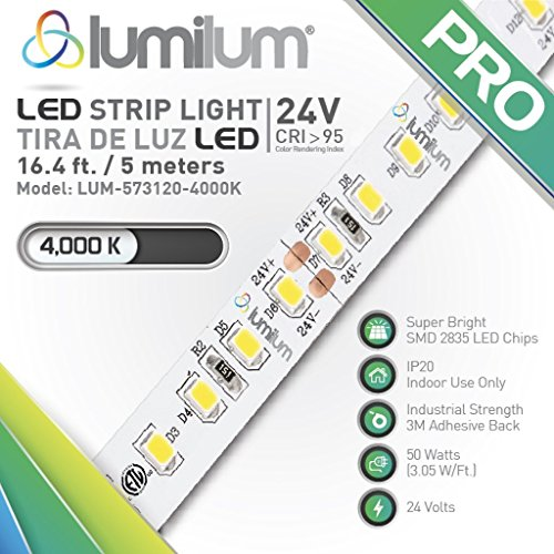 Lumilum LED Strip Lights 24V - 4000K - High CRI >95 - Designer Preferred - ETL - IP20 Series