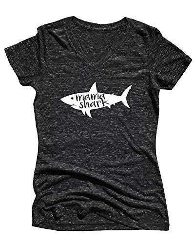 MOMOER Mama Shark Shirt Women Funny Mom Letter Print Graphic Tees Short Sleeve Casual Cotton Tops T-Shirt (Black, S)