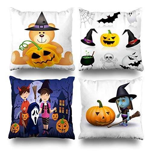Set of 4 Decorativepillows Case Throw Pillows Covers for Couch/Bed 18 x 18 inch,Halloween Teddy Bear Pumpkin Home Sofa Cushion Cover Pillowcase Gift Bed Living -