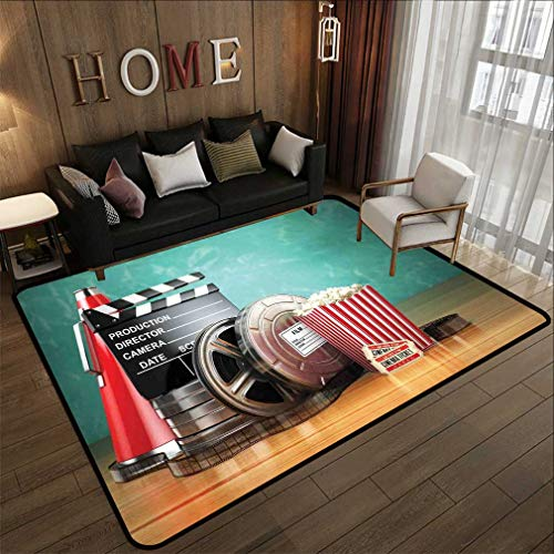 check out c1d6f 103ca Movie Theater Floor Area Rugs Production Theme 3D Film Reels Clapperboard  Tickets Popcorn and Megaphone Vintage