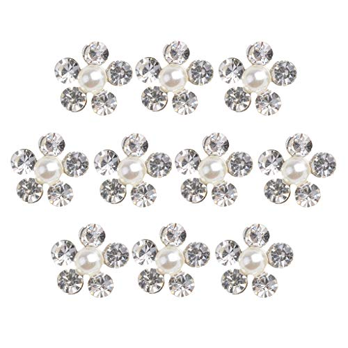 Baosity 10 Pieces 11mm Silver Plated Metal Diamante Pearl Flower Buttons Crystal Buttons Flatback Embellishments DIY Accessories Sewing Wedding Decorations ()