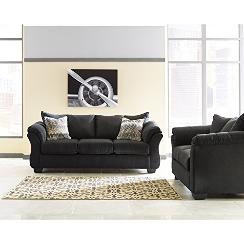 Flash Furniture Signature Design by Ashley Darcy Living Room Set in Black Microfiber
