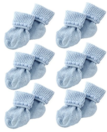 Hand Knit Mittens (Blue Newborn Baby Socks By Nurses Choice - Includes 6 Pairs of Cotton Socks)