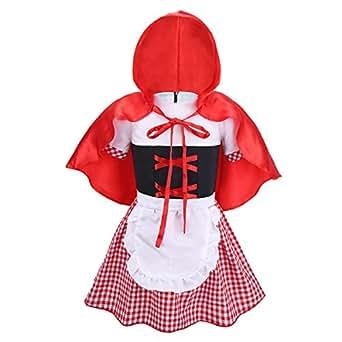 Alvivi Traje de Disfraces para Bebés Niñas Cosplay Dos Piezas Piezas Vestido de Princesa Fiesta Mangas Cortas + Capa con Capucha para Fiesta Halloween Rojo&Blanco 6-9 Meses